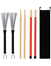 BUDDE Drum Sticks Brush Set - 1 Pair 5A Maple Wood Drum Sticks 1 Pair Drum Wire Brushes Retractable Drum Stick Brush and 1 Pair Rods Drum Sticks with Storage Bag for Jazz Acoustic Music Lover Gift