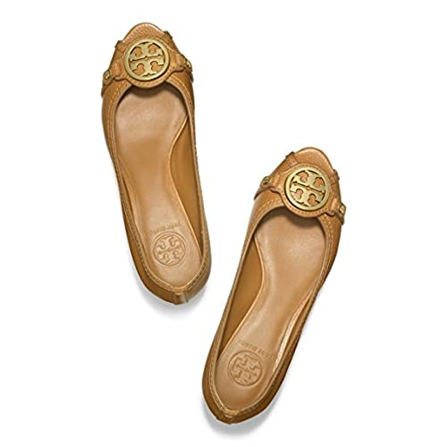 e91063bcb58 durable service Tory Burch Leticia Wedge Shoes Leather Open Toe TB Logo  Pump Heel