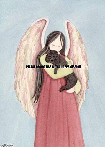 Lynch Black Poodle and Angel Folk Art Print