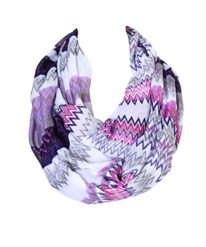 Lucky Leaf Women Lightweight Cozy Infinity Loop Scarf with Various Artist Print (Purple)