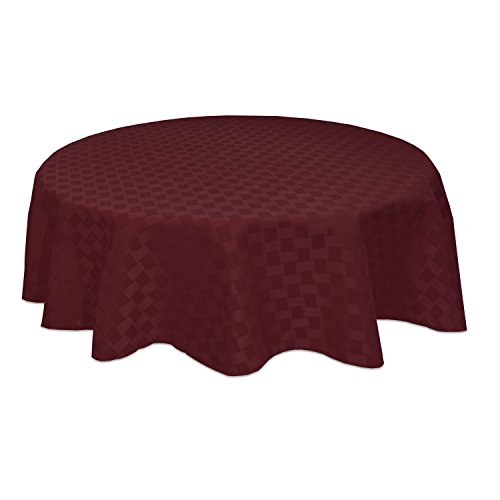 Bardwil Reflections Spill Proof  Oval Tablecloth, 60 X 84-Inch, Merlot