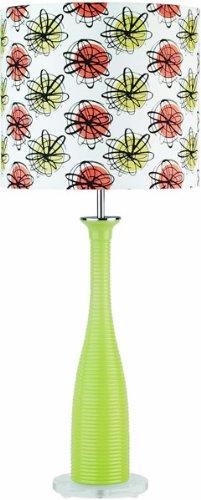 (Lite Source Inc LS-2687GRN Lite Source Fantah Etable Lamp, Glass with Flower Printed Shade, Green)