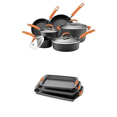 Rachael Ray Hard Anodized II Nonstick Dishwasher Safe 10-Piece Cookware Set (Orange) + 3-Piece Baking and Cookie Pan Set (Orange)