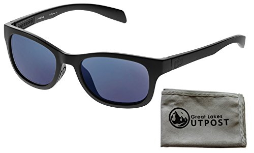 Native Eyewear Highline, Matte Black Sunglasses With Blue Reflex Lenses and - Eyewear Nose Pads Native