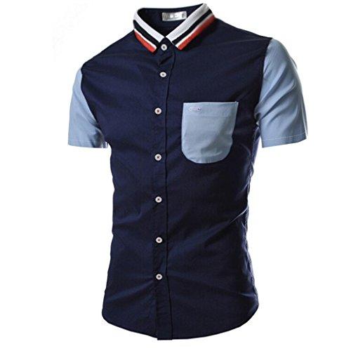 Forthery Mens Shirts Short Sleeve Striped Button Down Dress Shirt Clearance Sale (Navy, US XXL = Asia XXXL)