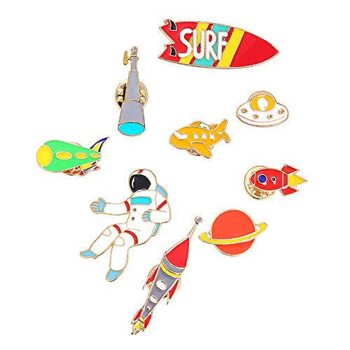 - Zoopwon 9 Pc Astronaut Enamel Pin Sets - Cute Cartoon Brooch Pins Lapel Pins for Kids Bags, Clothes, DIY Decoration, Multicolored