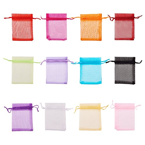 FASHEWELRY 200PCS Mixed Color Organza Drawstring Pouches Candy Jewelry Party Wedding Favor Present Gift Bags, 3 x 4 Inches