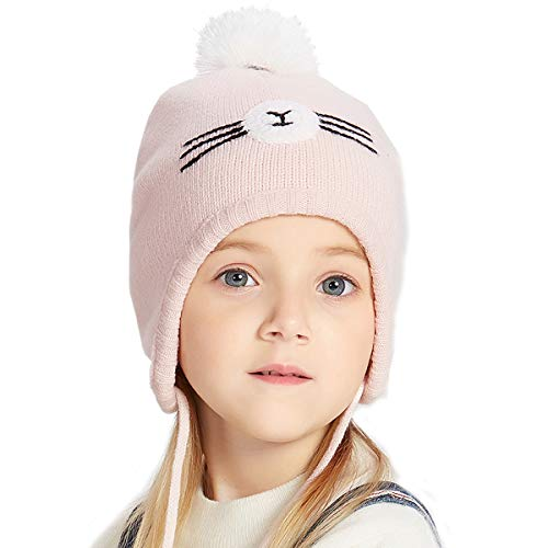 (ENJOYFUR Toddler Knit Hats,Warm Cotton Kids Beanies,Winter Soft Girls Pompom Caps)