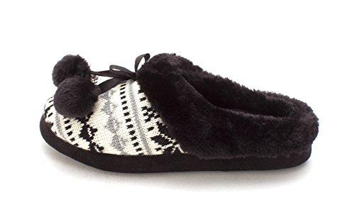 Slippers Toe Fab Womens Black Fur Closed On Slip Funtensee Faux Just O4zpUpq