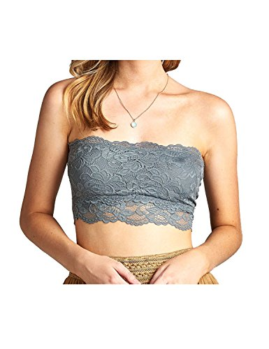 Luna Flower GBRW029 Women's Strapless Basic Essential Floral Lace Non-Padded Bandeau Top Grey (Maternity Zebra Bikini)