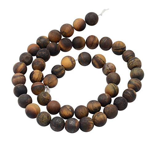 PH PandaHall 5 Strands 10mm Natural Tiger Eye Gemstone Chains Frosted Matte Round Loose Stone Beads for Jewelry Making 14.9