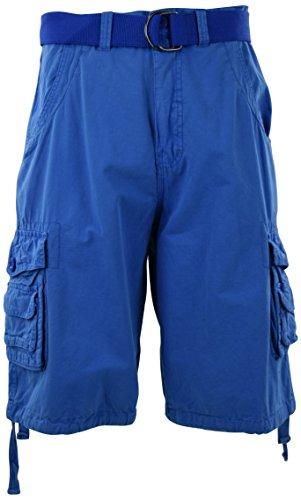 Mens Premium Cargo Shorts with Belt (8 Pockets 32-44 Size) (40, Light Blue)