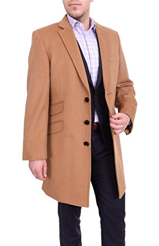 The Suit Depot Regular Fit Solid Camel Tan Wool Cashmere Blend 3/4 Topcoat With Ticket - Wool Camel Tan
