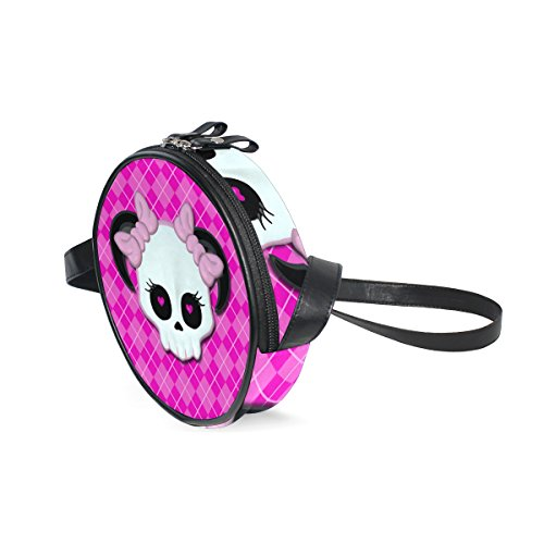 Kids Purse Shoulder Bag Handbag Emo Skull With Pink Heart Eyes And Bows for Toddler Girls Boys