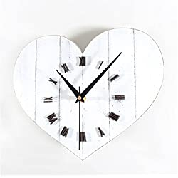 RFVBNM Silent Wall Clock Wood White Heart-Shaped Wall Clock Mute Hanging Clock Bedroom Living Room Kitchen Cafe Bar Hotel Resturant Pub Mall Wall Clock Indoor Home Decor Clocks 12Inch
