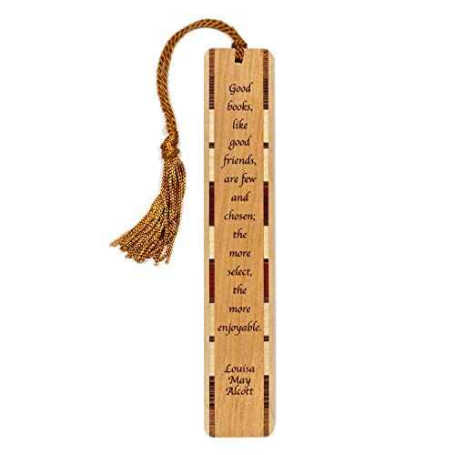 (Author - Louisa May Alcott Quote About Books and Friends Engraved Wooden Bookmark with Tassel Personalized Version Also Available - Search B071L3X4PL)