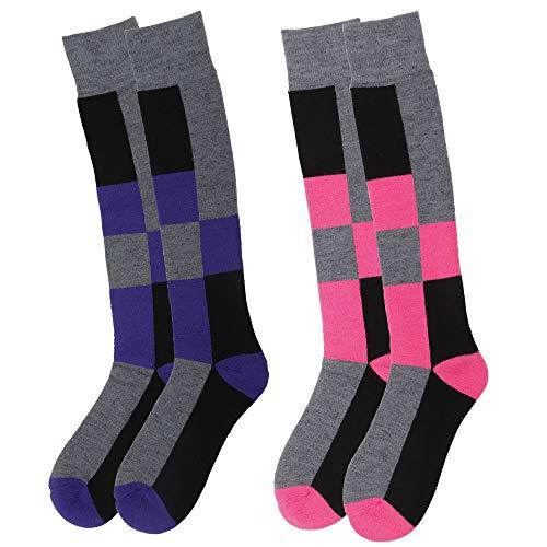 Tall Socks Kids (Lullaby Kids Snow Ski Socks Full Terry Warm Skiing Socks, 2 Pairs Diamond)