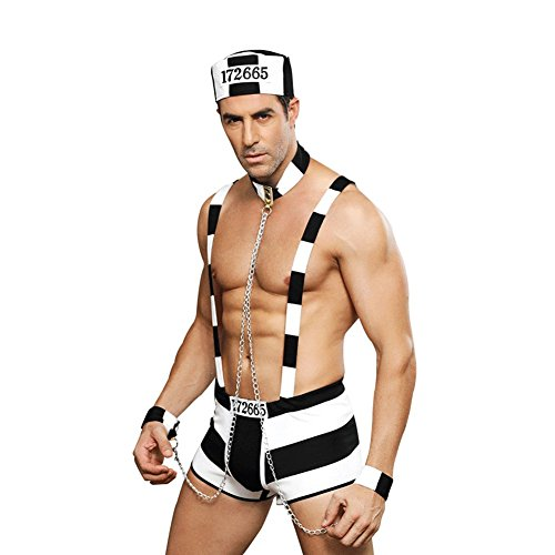 Honiee Mens 4PCS Prisoner Costume Outfit -