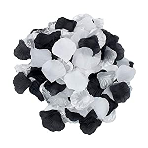 2NDTONONE 900pcs White Silver Black Artificial Silk Rose Petals Vase Table Scatter Confetti Aisle Runner Wedding Party Events Home Decoration 82
