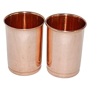Neel Madhav Copper Glass Tumblers Leak Proof Seamless 350 ML Set of 2 Plain Brown Glass Ayurvedic Use Travelling Purpose