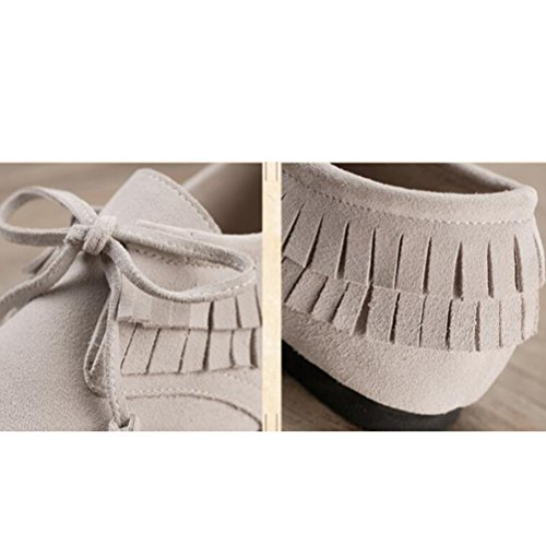 MatchLife Damen Tassel Flache Leder Ursache Schuhe Weiß