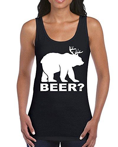 Beer Deer Bear ? Women Tank Top Funny Tank Tops Large Black