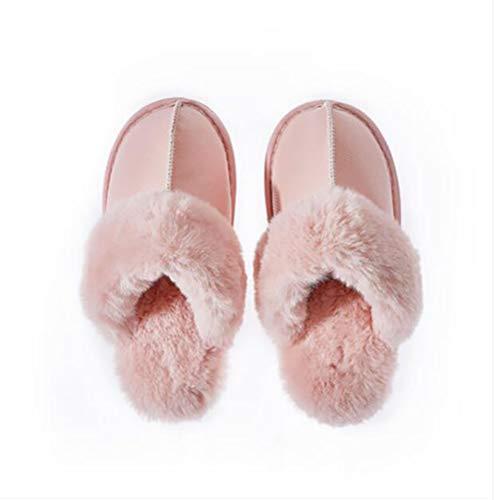 De Maison 36 Shangxian Pink Mouillé Chaussons Pas Intérieure Chaud Flip Supérieur Amateurs black Pu Coton Femmes Chaussures Flops Hiver 35 qqBz0
