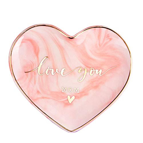 (VILIGHT Love You MOM Mother's Birthday from Daughter - Marble Pink Heart Ceramic Ring Dish Jewelry Tray - Large Size 5.5