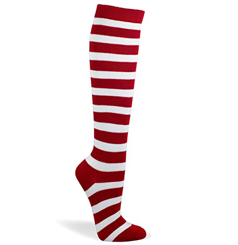 Couver Striped Knee High Fashion/Casual Tube Cotton Socks Great for Halloween Costume(Assorted Colors) (1 Pair) (Medium, Red/White)]()