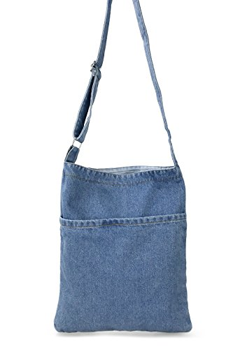 Hoxis Portable Travel Two Pocket Soft Denim Cross Body Womens Shoulder Bag Pouch (Blue)