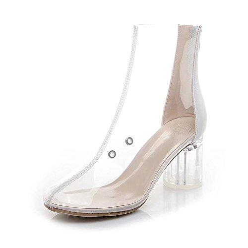 WL-zzf Nuevos Zapatos De Tacon Alto Transparente, De Moda Y De Espesor con Cristal Y Transpirable Botas Botas Cortas. white