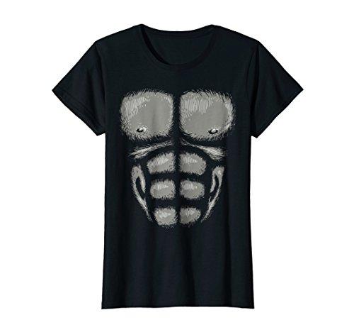 Womens Gorilla Chest Muscles Shirt Halloween Costume Monkey Suit Medium Black