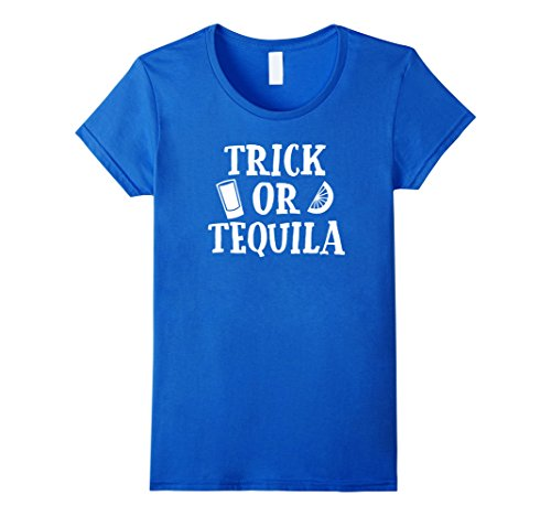 Alcohol Themed Halloween Costumes (Womens Trick Or Tequila Funny Halloween Costume Drinking T-Shirt XL Royal Blue)