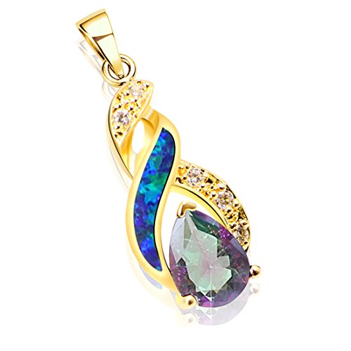 Hermosa Necklace Pendant Silver Rose Gold Australian Opal Fire Topaz (Yellow Gold White)