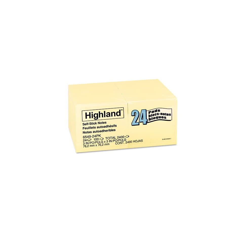 Post it Products   Post it   Memo Pad, 3 x 3, Yellow, 24 100 Sheet Pads/Pack   Sold As 1 Pack   Economical self stick notes are repositionable.   Designed for light duty applications.   Use as reminders of important dates.
