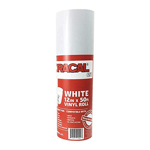 12.125 x 50ft Roll of Oracal 651 White Craft Vinyl - On a 2.5 Core - Adhesive Vinyl for Cricut, Silhouette, and Cameo Cutters - Gloss Finish - Outdoor and Permanent