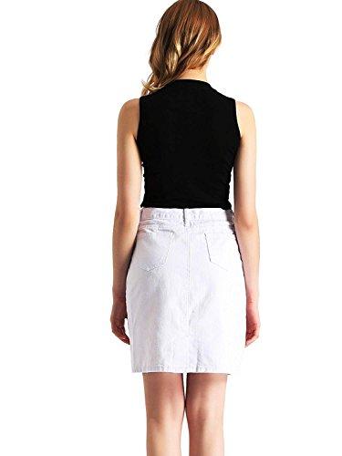 Donna Jeans Midi Gonna Alta Bianco Casuale Amoretu Di Elegante Matita A Vita 7fwIAq