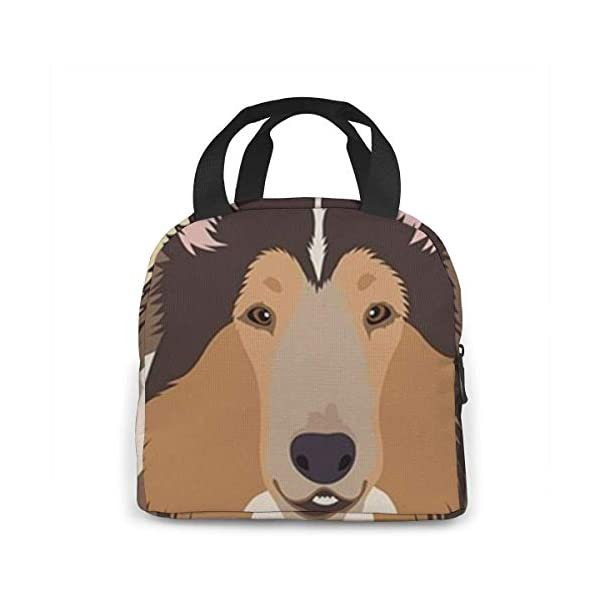 Rough Collie Portable Insulated Lunch Bag Workers Students Simple and Elegant Portable Insulation Lunch Bag 4