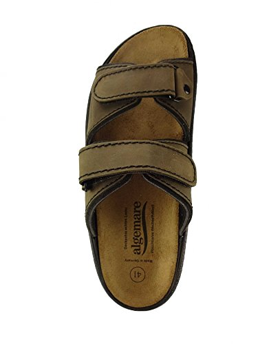 Algemare Herren Pantolette Nubuk 'Moor' waschbares Algen-Kork Wechselfußbett 7510_7878 Made in Germany, Größe:41