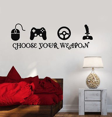 Gamer Vinyl Stickers Video Game Play Room Joystick eSports Wall Decal VS216