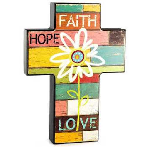 Orange Yellow Pink Green Blue Brown White Red Flower Faith Hope Love Wall (Orange Wall Cross)