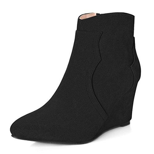 Women Allegra K Heel Pointed 7 Size US Booties Ankle Toe Zipper Black Wedge apaxr5ndwq