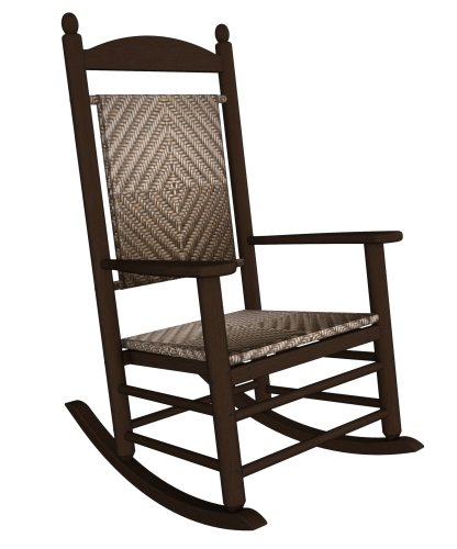 (Rocker Jefferson Woven Chair Frame Finish: Mahogany, Seat/Back Finish: Cahaba)