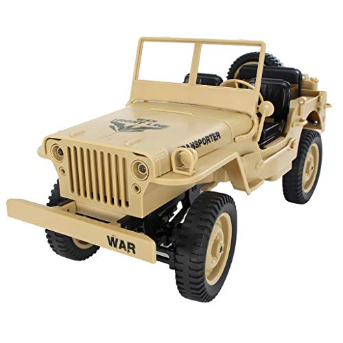 Lomsarsh Remote Control Car JJRC Q65 1/10 2.4G RC Open Transporter Jedi Convertible Car Military Jeep Light Jeep Four-Wheel Off-Road 4WD Rock Crawler RTR Toy
