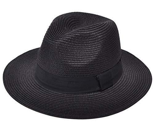 1df5fdee1618e0 Lanzom Women Wide Brim Straw Panama Roll up Hat Fedora Beach Sun Hat UPF50+