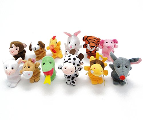 Baby Animals Finger Puppet Cute Plush Toys Dolls Set,12pcs Animals Characters Toys for Children's Education,Shows,Playtime,Schools,Great Storytelling Props Tools for Creativity and ()