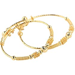 Loyoe Jewelry 24k Yellow Gold Plated Baby's Bracelet Adjustable Children's Bangle(2pcs/lot)