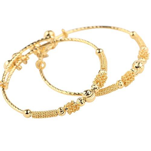 loyoe jewelry 24k Yellow Gold Plated Babys Bracelet Adjustable Childrens Bangle(2pcs/lot)