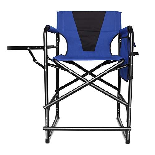 Tall Director s Chair Folding Portable Camping Chair, 24inch Seat Height Makeup Artist Collapsible Chair with Side Table Storage Bag Footrest, Supports 300LBS