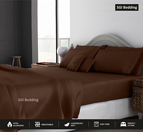 SGI bedding Queen Sheets Luxury Soft 100% Egyptian Cotton - Bed Sheet Set for Queen Mattress Chocolate Solid 600 Thread Count Deep Pocket